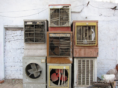 Lucknow street scene old airconditioning a/c units