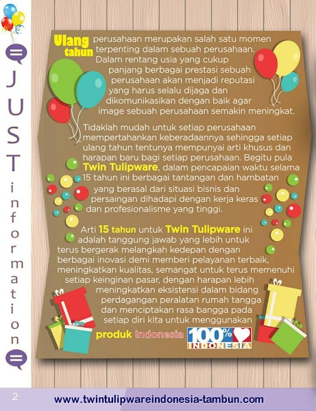 Just Information : HUT Twin Tulipware ke-15