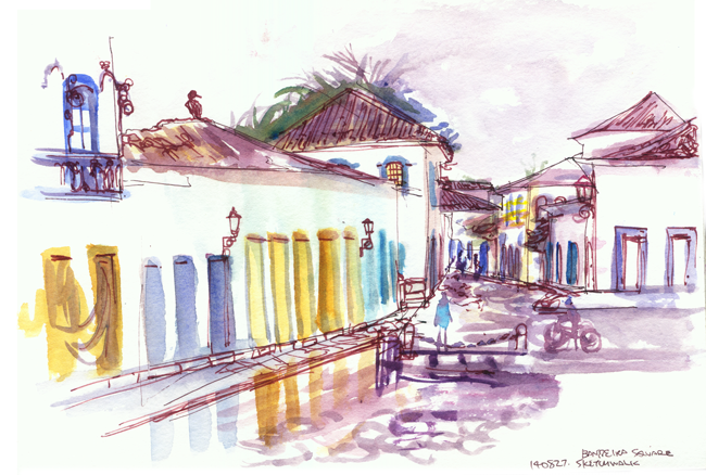 "Shiho Nakaza Paraty Brazil watercolor sketching ""travel sketches"" ""high tide"" ""location drawing"""