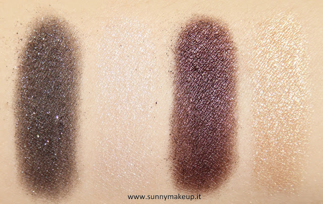Swatch Pupa - Stay Gold!: Collezione natalizia 2015. Stay Gold! Eyeshadow.  001 Black Refined, 002 Pure Skin, 003 Charming Burgundy, 004 Golden Light.