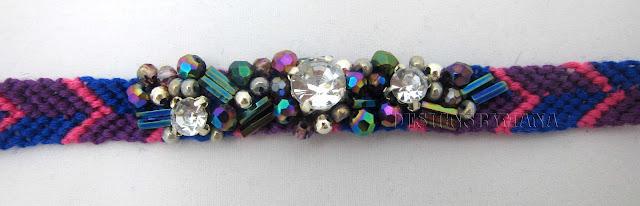 purple/crystal beaded friendship bracelet detail