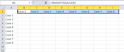 Excel Convert columns to rows with transpose function