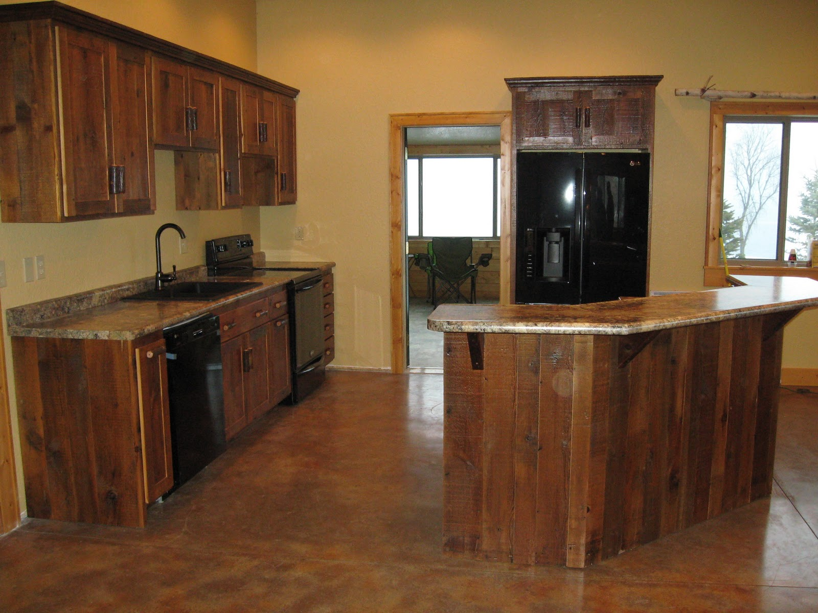 Log furniture barnwood furniture rustic furniture for Rustic kitchen cabinets