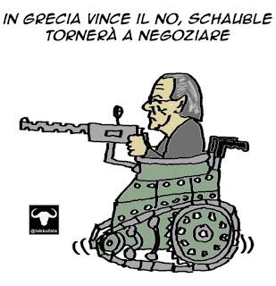 Schauble, tsipras, greferendum, grexit, negoziati, satira, vignetta