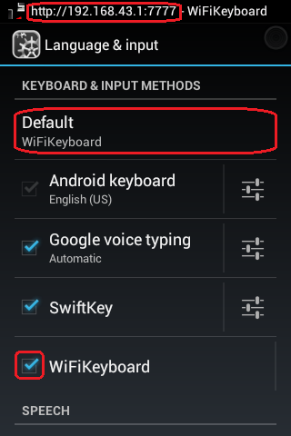 Language and input - Enable WiFi Keyboard