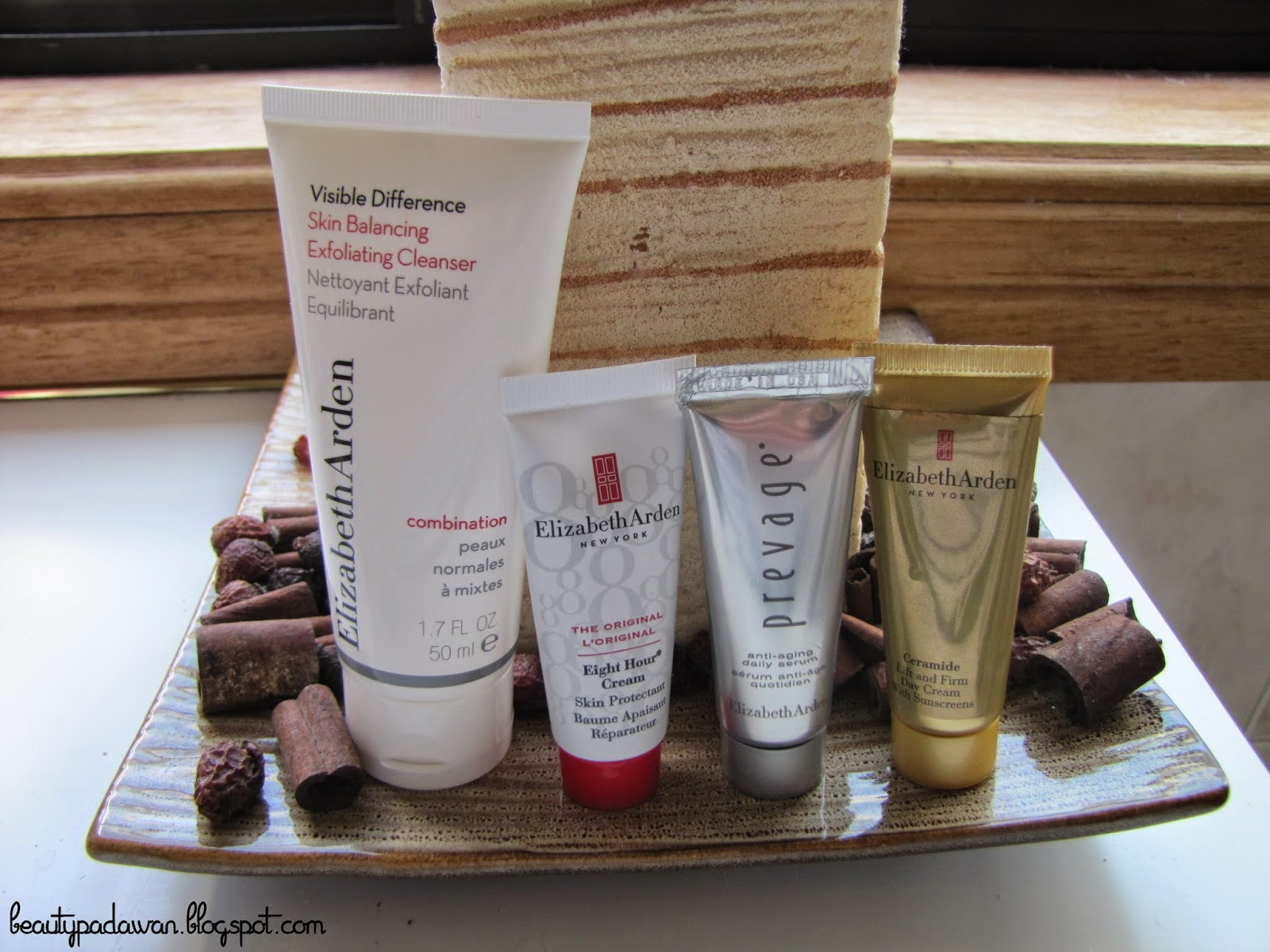 Elizabeth Arden Visible Difference Skin Balancing Exfoliating Cleanser; Elizabeth Arden The Original Eight Hour Cream Skin Protectant; Elizabeth Arden Prevage Anti-Aging Daily Serum; Elizabeth Arden Ceramide Lift and Firm Day Cream with Sunscreen