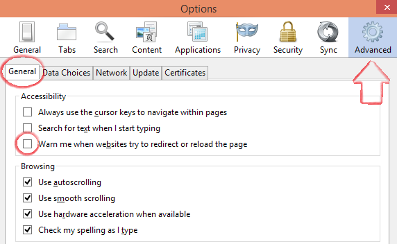 cara mematikan Firefox Prevented this Page from Automatically Reloading