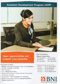 Lowongan Kerja Assistant Development Program ( ADP ) Bank BNI