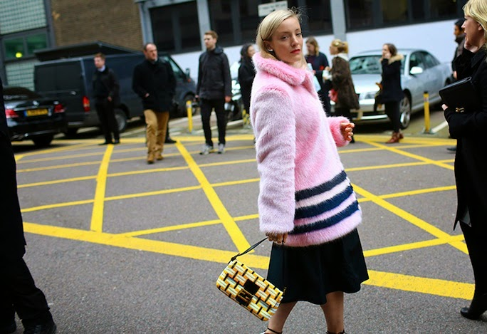 street style, striped faux fur
