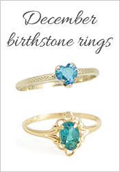 children and teens birthstone rings for December with blue zircons.