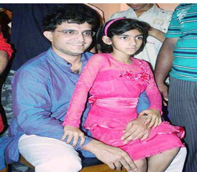 Saurav Ganguly with her daughter Sana Ganguly