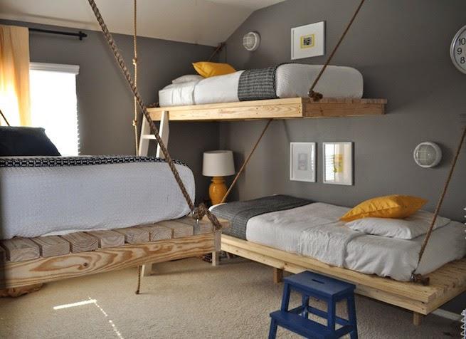 finalmente con los palets podemos crear camas colgantes como estas son muy bonitas pero deben ejecutarse para que no sean peligrosas