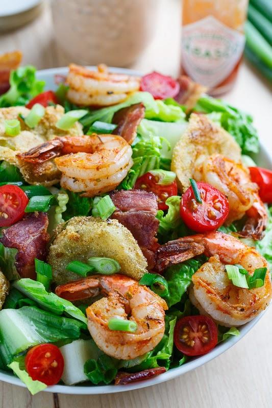 Blackened Shrimp and Fried Green Tomato Po Boy Salad on Closet Cooking