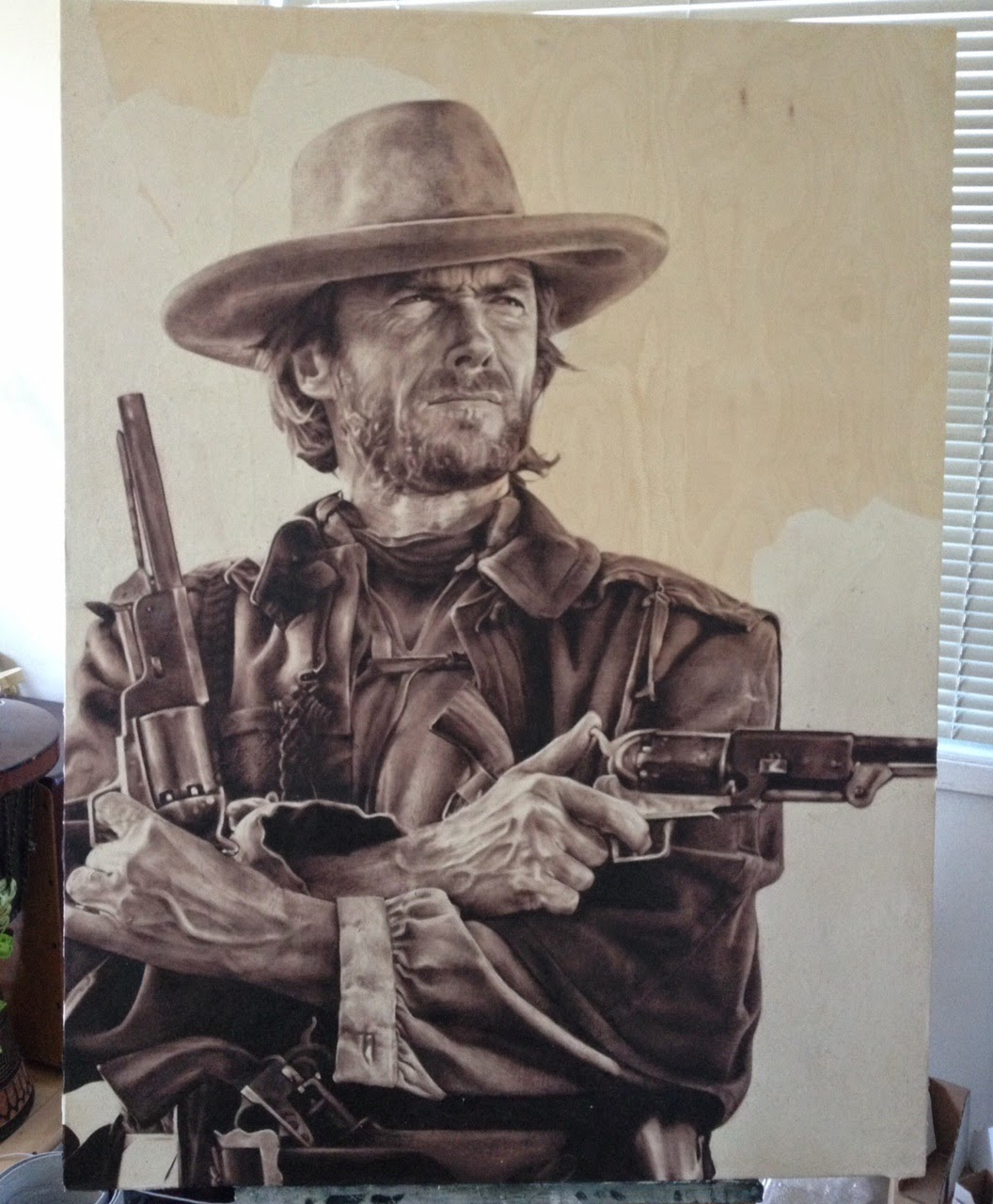 Clint Eastwood, Oil painting, Wood panel canvas