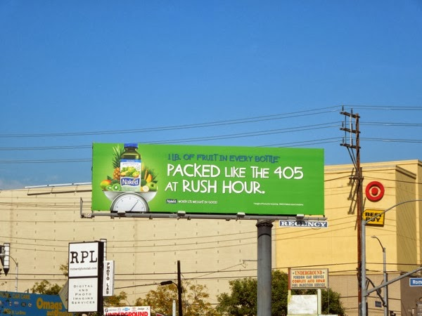 Packed like 405rush hour Naked Juice billboard