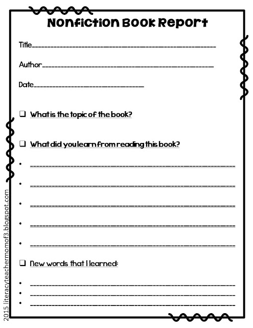 Book reports for nonfiction books