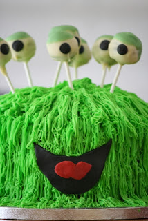 Green Monster Cake with Cake Pop Eye Balls