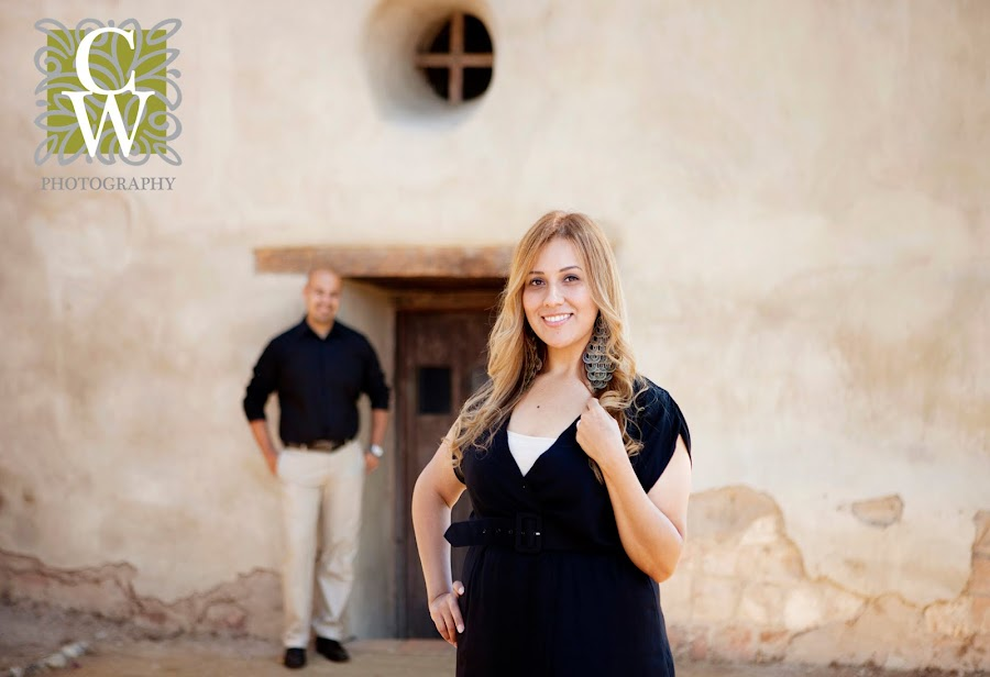 Engagement portrait san juan capistrano mission