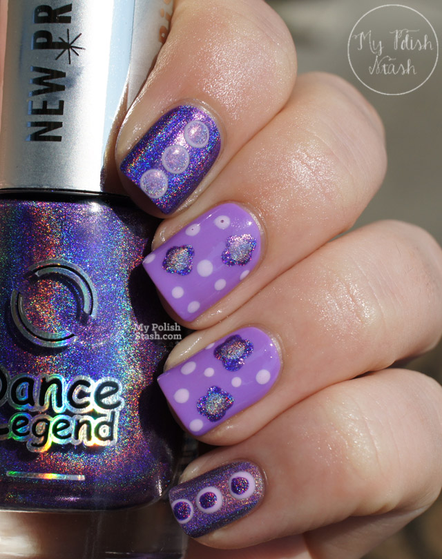 purple holographic nail art