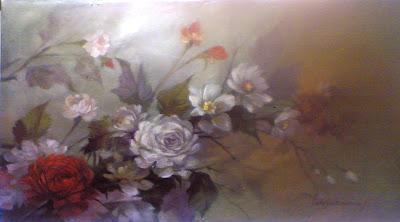 lukisan karya toto sukatma,Lukisan bunga kertas,lukisan bunga gaya cina,lukisan bunga aster,Lukisan bunga kertas dan bunga mawar
