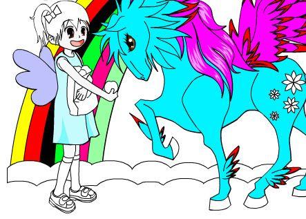 jogo online Sarah e seu Unicornio para colorir