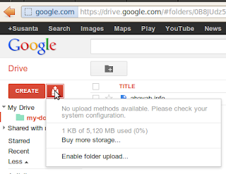 No upload methods available yet for me on new google drive