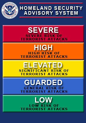 homeland security advisory system chart, color, severe, high, elevated, terror, terrorist attack