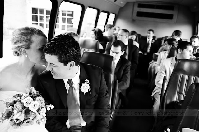 Bridal party on bus