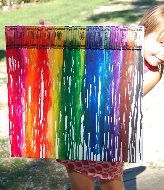 kids crafts and fun: melted crayon canvas: