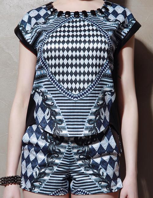 Checkerboard Digi Print Top and Shorts