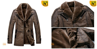 Mens Brown Real Sheepskin Coat