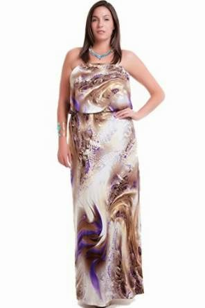 strapless maxi dress: Plus Size Strapless Maxi Dress