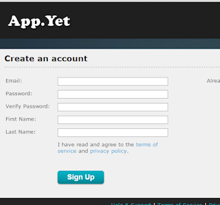 Bikin akun di App Yet