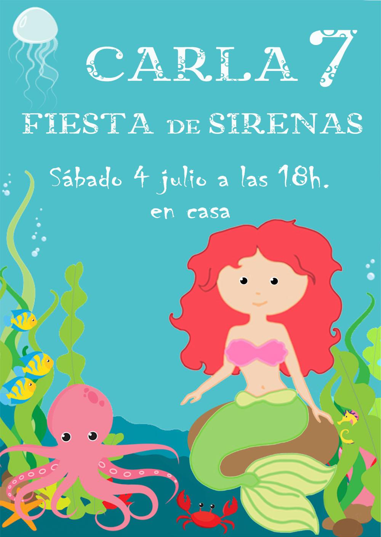 Mardefiesta: Invitación fiesta de sirenas y preparativos