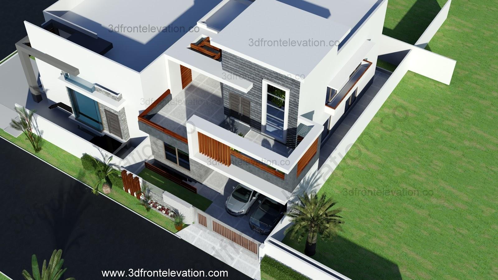 3d front elevation com 10 marla contemporary house design