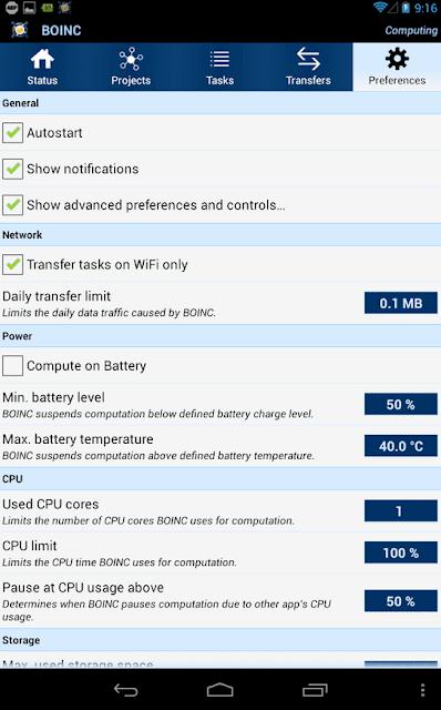 Podešavanja BOINC mobilne aplikacije