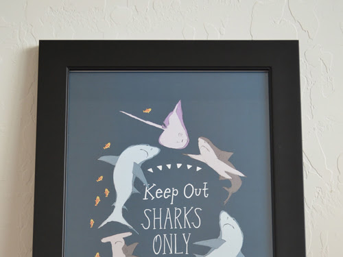 Keep Out Sharks Only 12x18 Art Poster