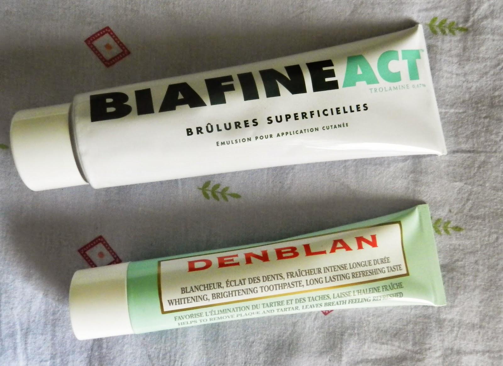 BiafineAct & Denblan whitening toothpaste