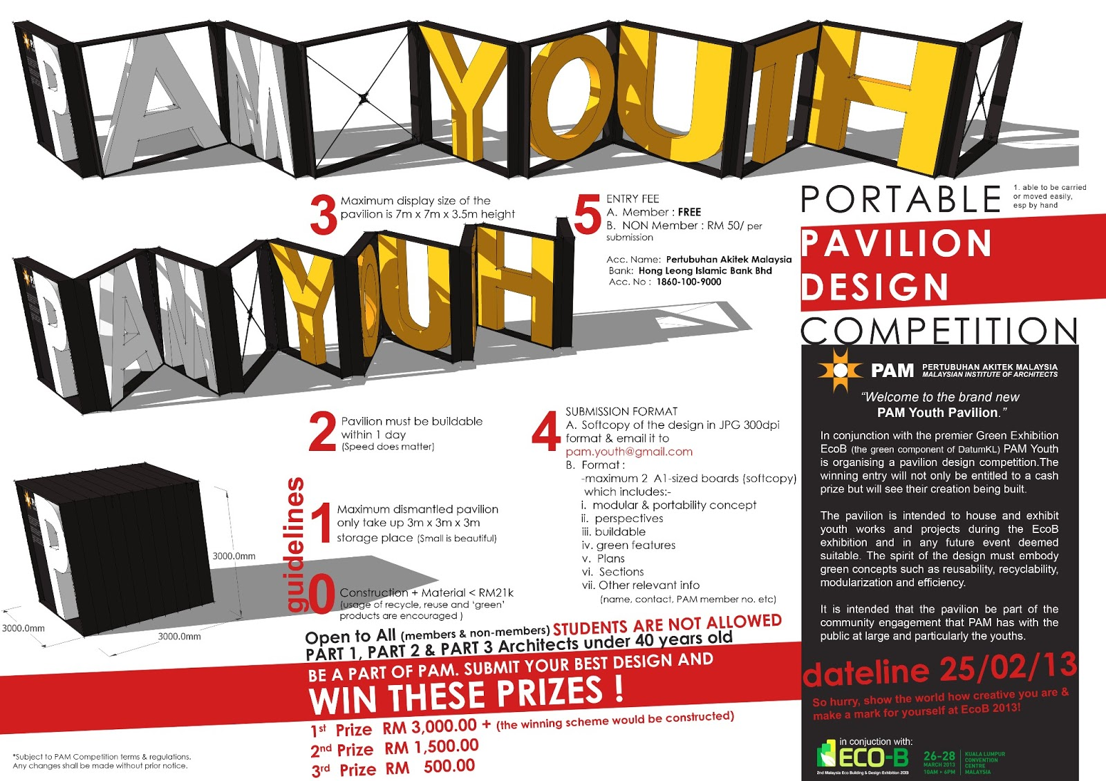 Poster design competition - In Conjunction With The Premier Green Exhibition Ecob The Green Component Of Datumkl Pam Youth Is Organizing A Pavilion Design Competition