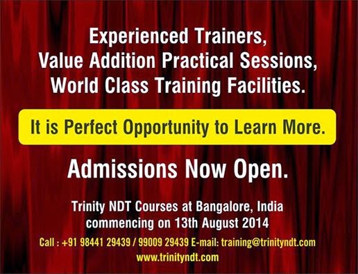NDT Level II Training from 13 Aug 2014 at Bangalore, India - world class training click below Image