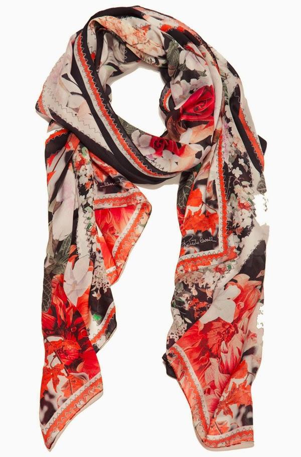 chiffon scarf, silk scarf, roberto cavalli,