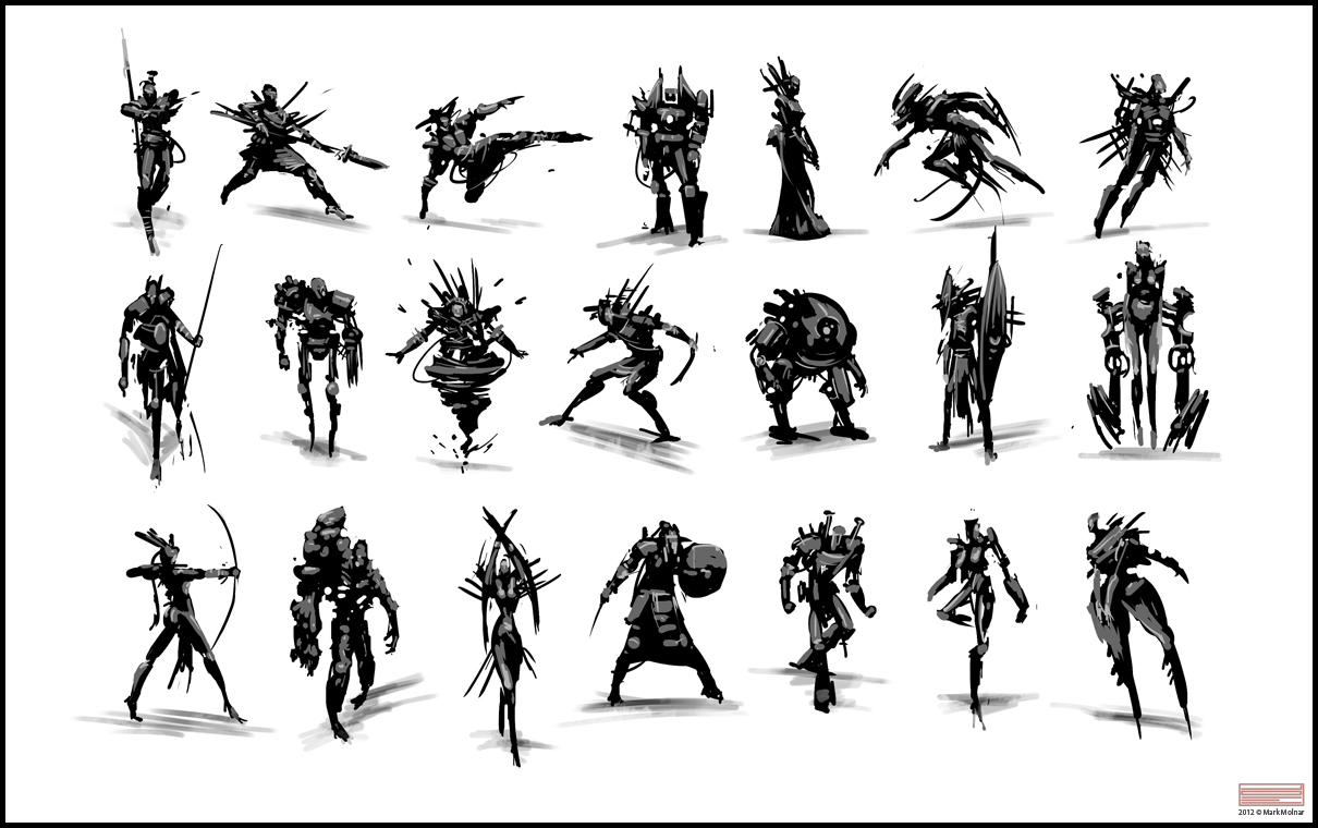 Character Design Silhouette Tutorial : Mark molnar sketch of concept art and illustration