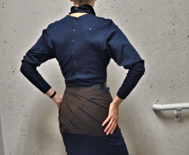 Alaia Paris vintage brown and navy wool dress with belt