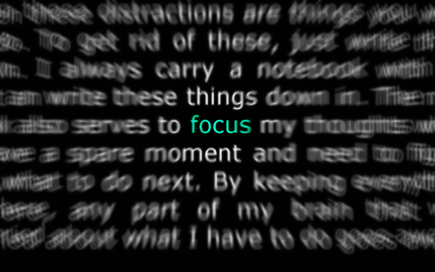 "image of hundreds of words out of focus and the word ""focus"" in focus"