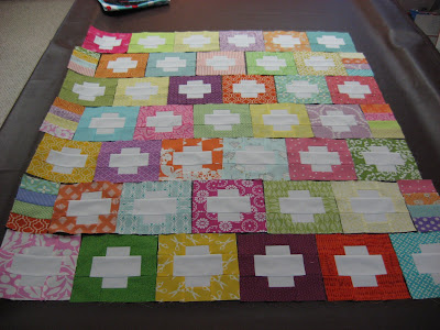 Reverse Plus Quilt Top ~ All Laid Out