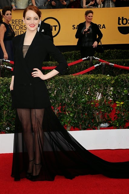 Emma Stone in Christian Dior Couture 2015 Red Carpet SAG awards