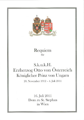 Requiem mass program for July 16th of 2011, Erzherzog Otto von Österreich