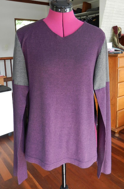 Purple long-sleeved t-shirt with grey and purple sleeves