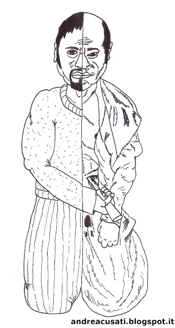 Disegno che raffigura una persona a metà e l'altra metà è composta da un giapponese che pratica l'harakiri