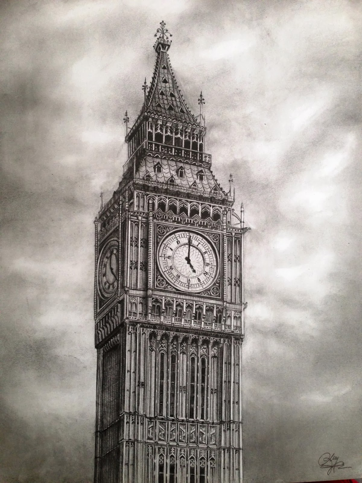 Architecture Drawing Pencil dreams of an architect: big ben - pencil drawing